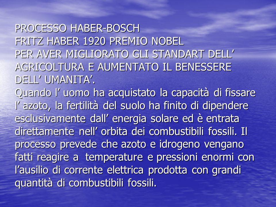 PROCESSO HABER-BOSCH FRITZ HABER 1920 PREMIO NOBEL PER AVER MIGLIORATO GLI STANDART DELL' AGRICOLTURA E AUMENTATO IL BENESSERE DELL' UMANITA'. Quando