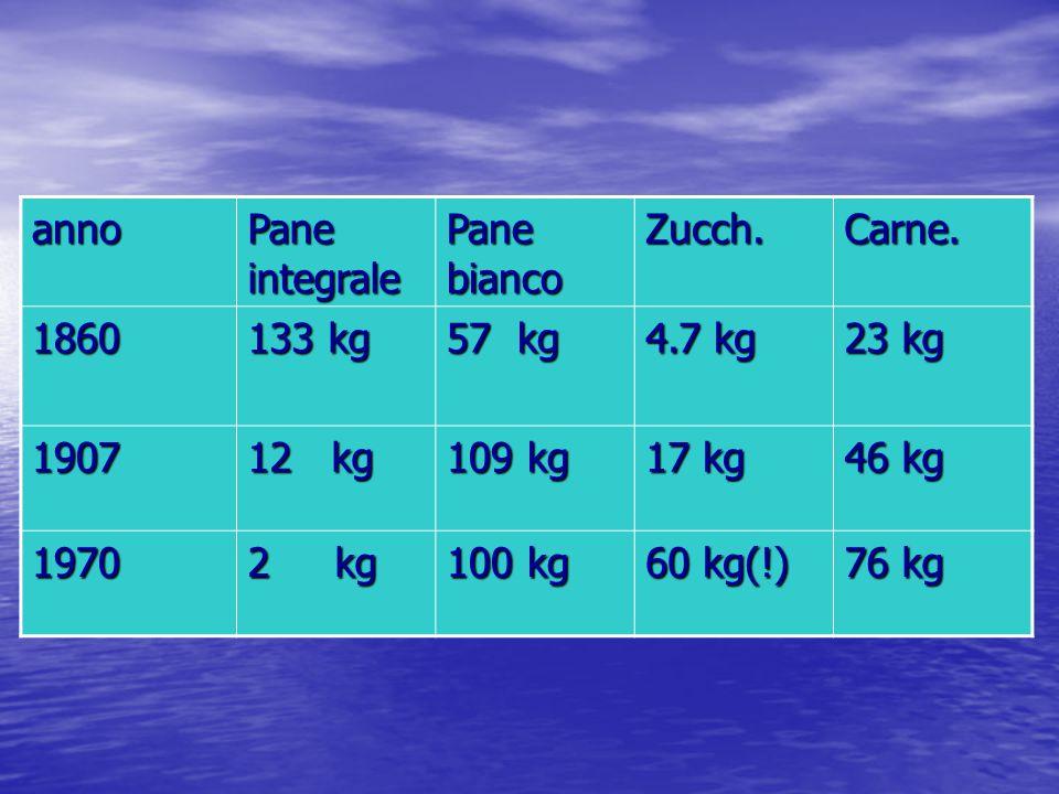anno Pane integrale Pane bianco Zucch.Carne. 1860 133 kg 57 kg 4.7 kg 23 kg 1907 12 kg 109 kg 17 kg 46 kg 1970 2 kg 100 kg 60 kg(!) 76 kg