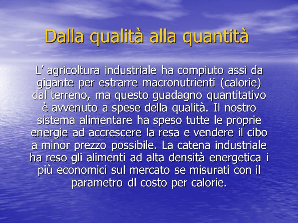 Dalla qualità alla quantità L' agricoltura industriale ha compiuto assi da gigante per estrarre macronutrienti (calorie) dal terreno, ma questo guadag