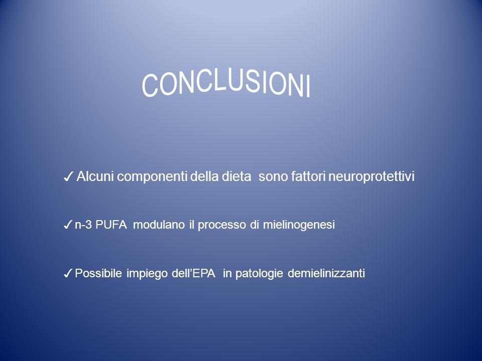 ✓ Alcuni componenti della dieta sono fattori neuroprotettivi ✓ n-3 PUFA modulano il processo di mielinogenesi ✓ Possibile impiego dell'EPA in patologie demielinizzanti