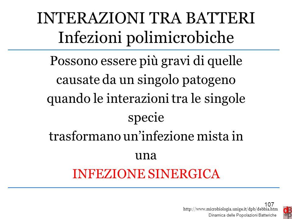 http://www.microbiologia.unige.it/dpb/debbia.htm Dinamica delle Popolazioni Batteriche INTERAZIONI TRA BATTERI Infezioni polimicrobiche Possono essere