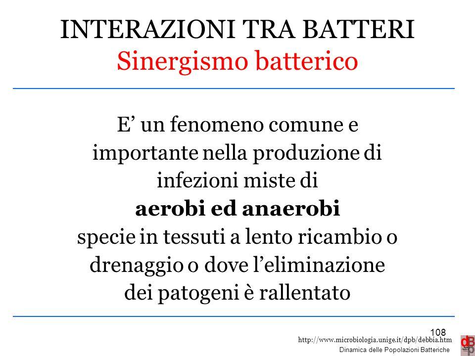 http://www.microbiologia.unige.it/dpb/debbia.htm Dinamica delle Popolazioni Batteriche INTERAZIONI TRA BATTERI Sinergismo batterico E' un fenomeno com