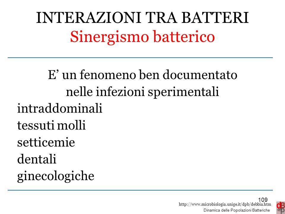 http://www.microbiologia.unige.it/dpb/debbia.htm Dinamica delle Popolazioni Batteriche INTERAZIONI TRA BATTERI Sinergismo batterico E' un fenomeno ben