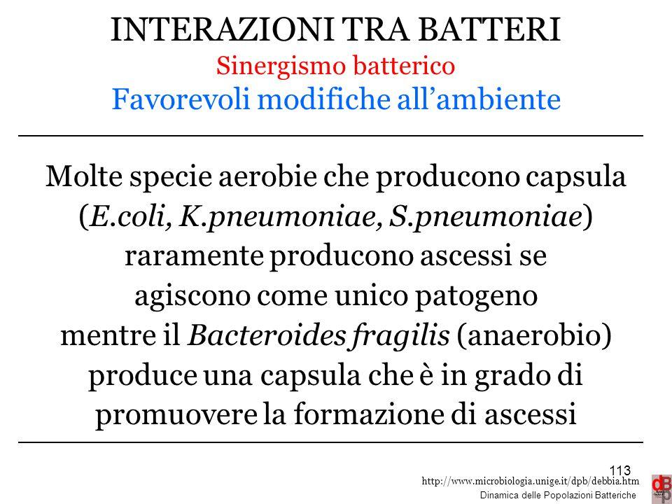 http://www.microbiologia.unige.it/dpb/debbia.htm Dinamica delle Popolazioni Batteriche INTERAZIONI TRA BATTERI Sinergismo batterico Favorevoli modific