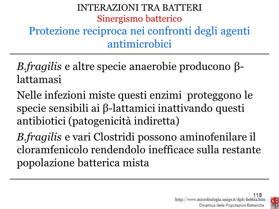 http://www.microbiologia.unige.it/dpb/debbia.htm Dinamica delle Popolazioni Batteriche INTERAZIONI TRA BATTERI Sinergismo batterico Protezione recipro