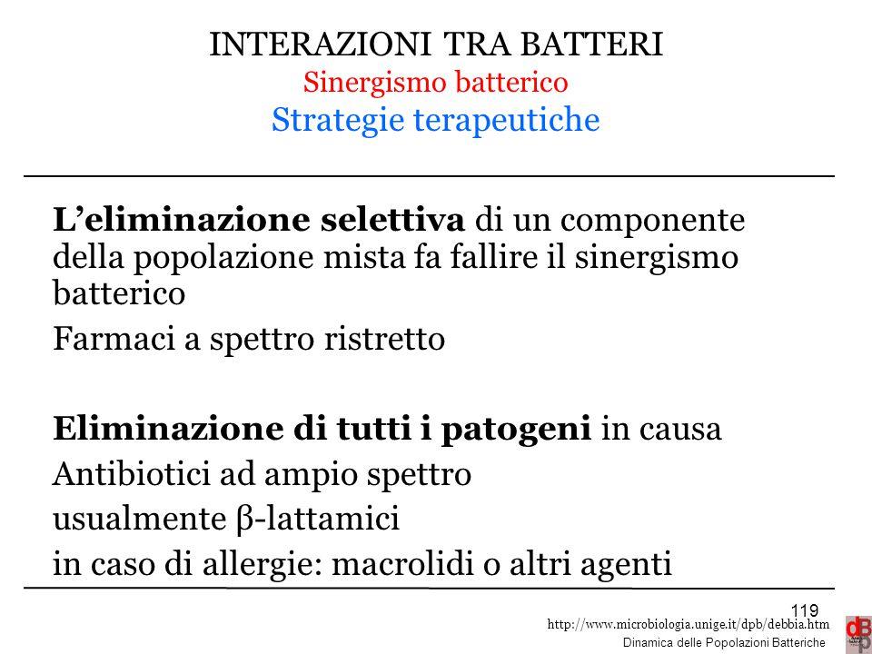 http://www.microbiologia.unige.it/dpb/debbia.htm Dinamica delle Popolazioni Batteriche INTERAZIONI TRA BATTERI Sinergismo batterico Strategie terapeut