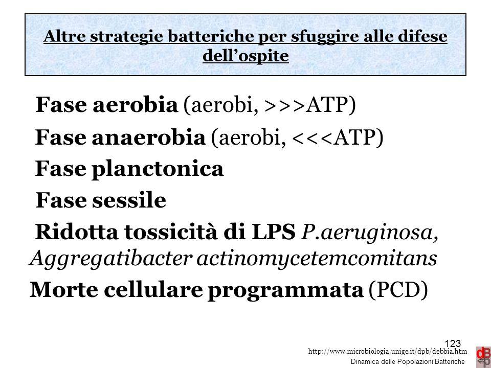 http://www.microbiologia.unige.it/dpb/debbia.htm Dinamica delle Popolazioni Batteriche Altre strategie batteriche per sfuggire alle difese dell'ospite