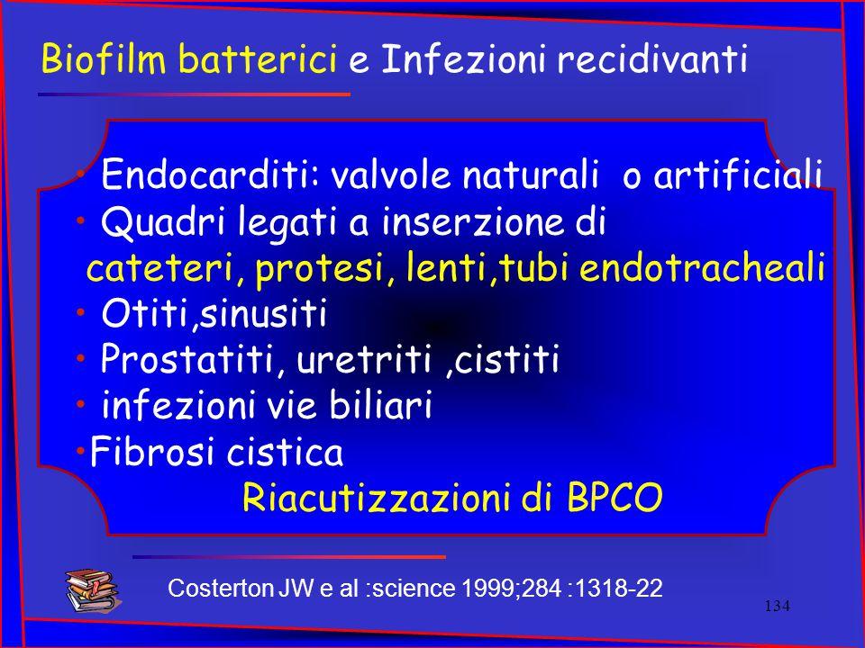 Biofilm batterici e Infezioni recidivanti Endocarditi: valvole naturali o artificiali Quadri legati a inserzione di cateteri, protesi, lenti,tubi endo
