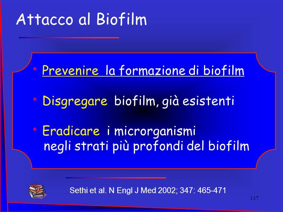 Sethi et al. N Engl J Med 2002; 347: 465-471 Prevenire la formazione di biofilm Disgregare biofilm, già esistenti Eradicare i microrganismi negli stra