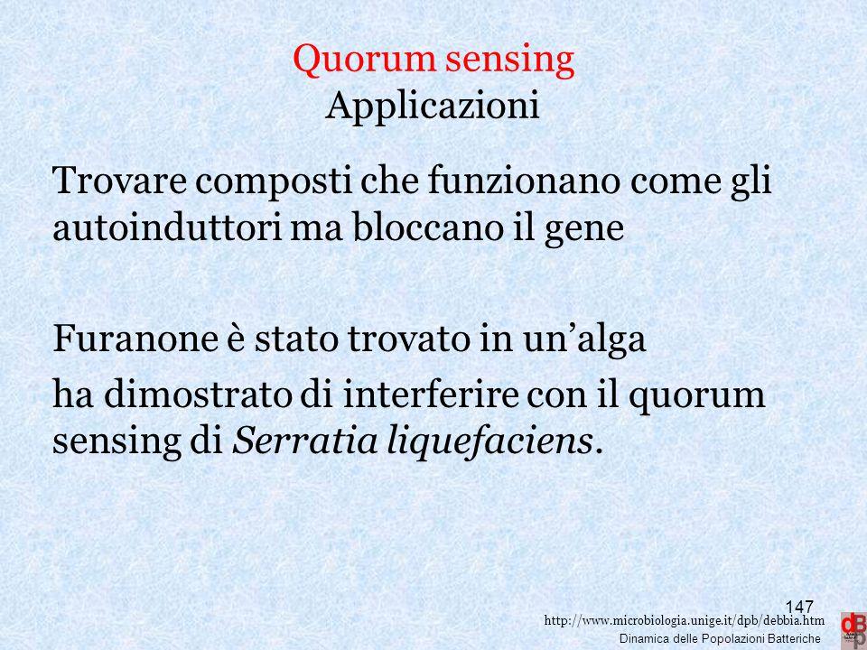 http://www.microbiologia.unige.it/dpb/debbia.htm Dinamica delle Popolazioni Batteriche Quorum sensing Applicazioni Trovare composti che funzionano com
