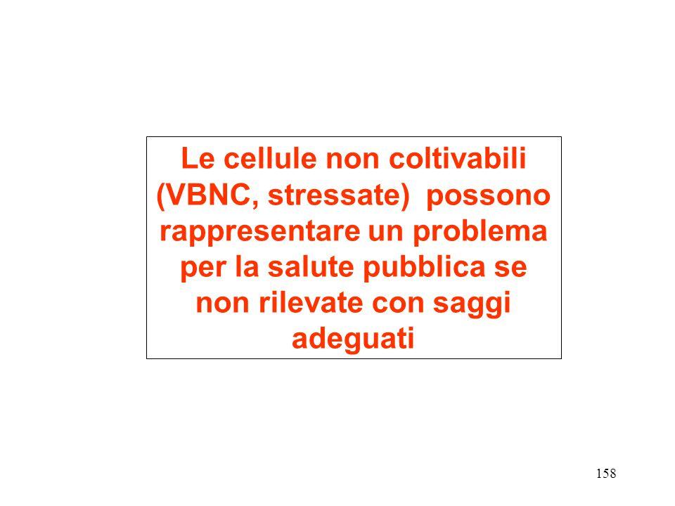 Le cellule non coltivabili (VBNC, stressate) possono rappresentare un problema per la salute pubblica se non rilevate con saggi adeguati 158