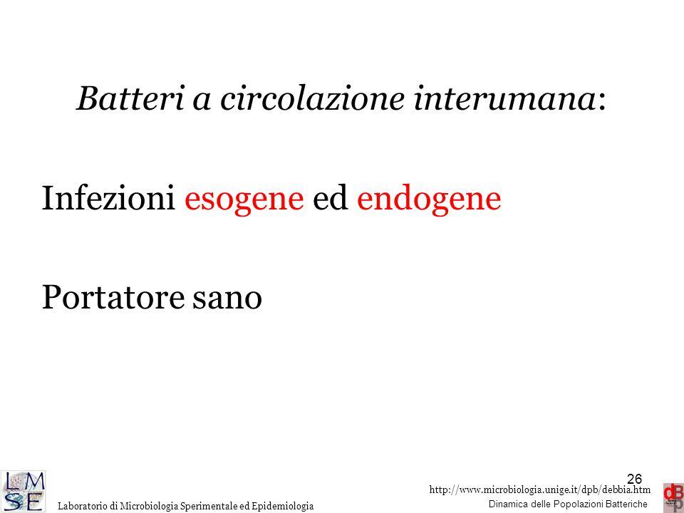 http://www.microbiologia.unige.it/dpb/debbia.htm Dinamica delle Popolazioni Batteriche Laboratorio di Microbiologia Sperimentale ed Epidemiologia Batt
