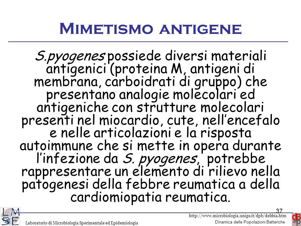 http://www.microbiologia.unige.it/dpb/debbia.htm Dinamica delle Popolazioni Batteriche Laboratorio di Microbiologia Sperimentale ed Epidemiologia Mime