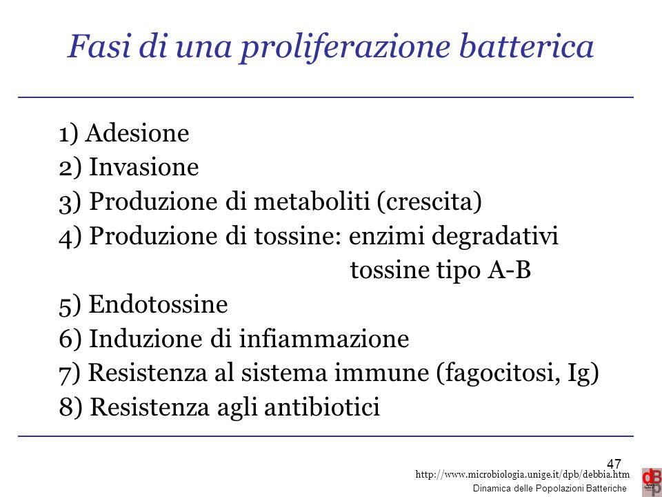 http://www.microbiologia.unige.it/dpb/debbia.htm Dinamica delle Popolazioni Batteriche Fasi di una proliferazione batterica 1) Adesione 2) Invasione 3