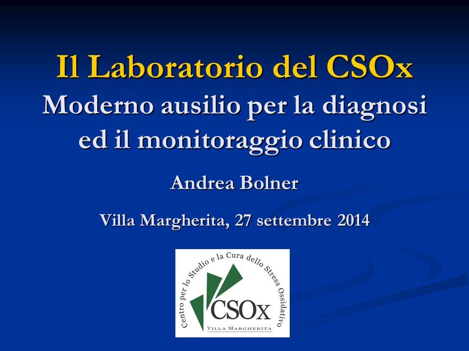 Il Laboratorio del CSOx Moderno ausilio per la diagnosi ed il monitoraggio clinico Andrea Bolner Villa Margherita, 27 settembre 2014