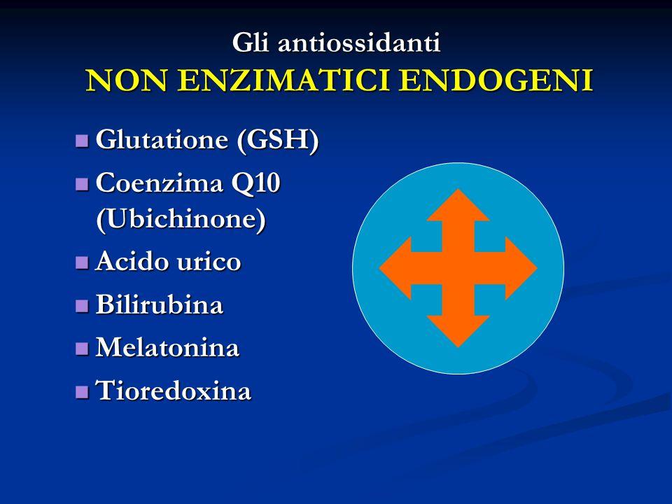 Gli antiossidanti NON ENZIMATICI ENDOGENI Glutatione (GSH) Glutatione (GSH) Coenzima Q10 (Ubichinone) Coenzima Q10 (Ubichinone) Acido urico Acido urico Bilirubina Bilirubina Melatonina Melatonina Tioredoxina Tioredoxina
