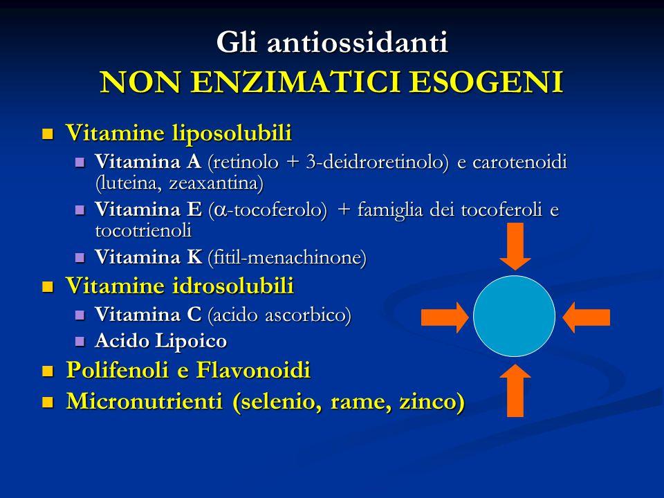 Gli antiossidanti NON ENZIMATICI ESOGENI Vitamine liposolubili Vitamine liposolubili Vitamina A (retinolo + 3-deidroretinolo) e carotenoidi (luteina, zeaxantina) Vitamina A (retinolo + 3-deidroretinolo) e carotenoidi (luteina, zeaxantina) Vitamina E (  -tocoferolo) + famiglia dei tocoferoli e tocotrienoli Vitamina E (  -tocoferolo) + famiglia dei tocoferoli e tocotrienoli Vitamina K (fitil-menachinone) Vitamina K (fitil-menachinone) Vitamine idrosolubili Vitamine idrosolubili Vitamina C (acido ascorbico) Vitamina C (acido ascorbico) Acido Lipoico Acido Lipoico Polifenoli e Flavonoidi Polifenoli e Flavonoidi Micronutrienti (selenio, rame, zinco) Micronutrienti (selenio, rame, zinco)