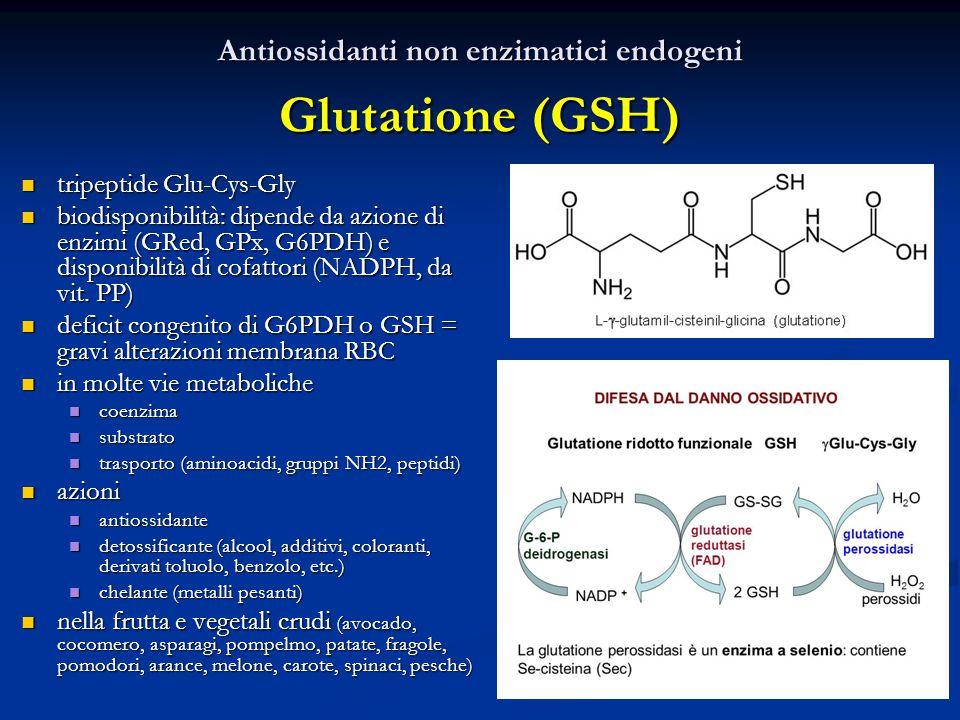 Antiossidanti non enzimatici endogeni Glutatione (GSH) tripeptide Glu-Cys-Gly tripeptide Glu-Cys-Gly biodisponibilità: dipende da azione di enzimi (GRed, GPx, G6PDH) e disponibilità di cofattori (NADPH, da vit.