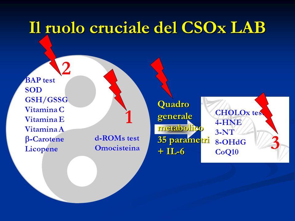 Il ruolo cruciale del CSOx LAB d-ROMs test Omocisteina BAP test SOD GSH/GSSG Vitamina C Vitamina E Vitamina A  -Carotene Licopene CHOLOx test 4-HNE 3-NT 8-OHdG CoQ10 Quadro generale metabolico 35 parametri + IL-6 1 2 3