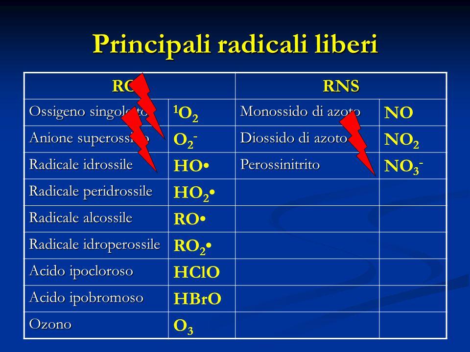 Principali radicali liberi ROSRNS Ossigeno singoletto 1O21O2 Monossido di azoto NO Anione superossido O2-O2- Diossido di azoto NO 2 Radicale idrossile HOPerossinitrito NO 3 - Radicale peridrossile HO 2 Radicale alcossile RO Radicale idroperossile RO 2 Acido ipocloroso HClO Acido ipobromoso HBrO Ozono O3O3