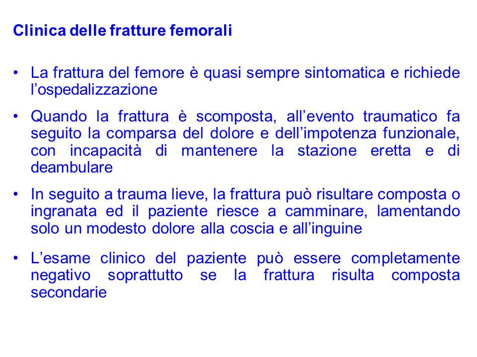 Clinica delle fratture femorali La frattura del femore è quasi sempre sintomatica e richiede l'ospedalizzazione Quando la frattura è scomposta, all'ev