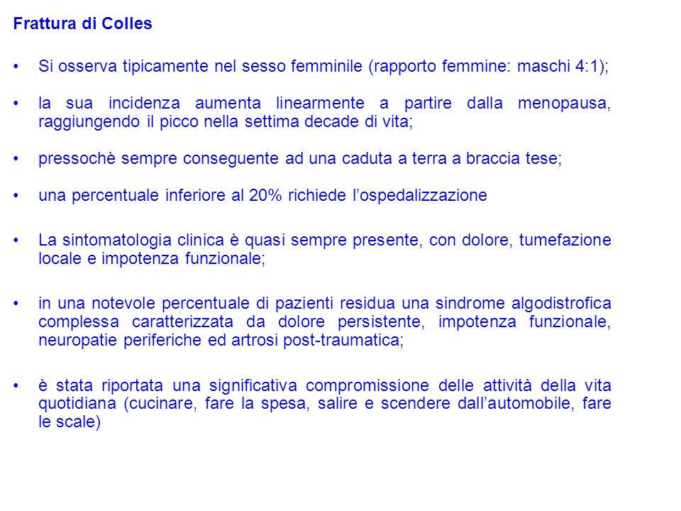 Frattura di Colles Si osserva tipicamente nel sesso femminile (rapporto femmine: maschi 4:1); la sua incidenza aumenta linearmente a partire dalla men