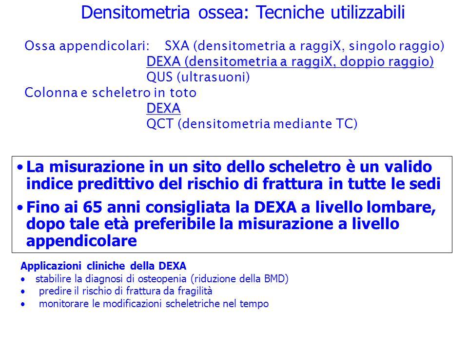 Densitometria ossea: Tecniche utilizzabili La misurazione in un sito dello scheletro è un valido indice predittivo del rischio di frattura in tutte le