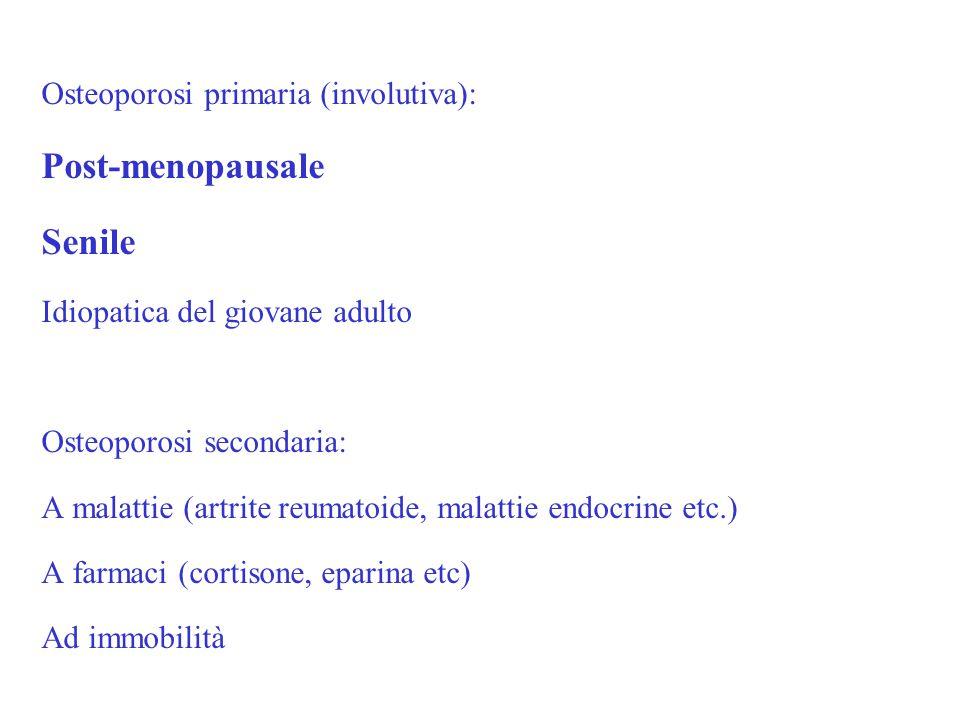 Osteoporosi primaria (involutiva): Post-menopausale Senile Idiopatica del giovane adulto Osteoporosi secondaria: A malattie (artrite reumatoide, malat