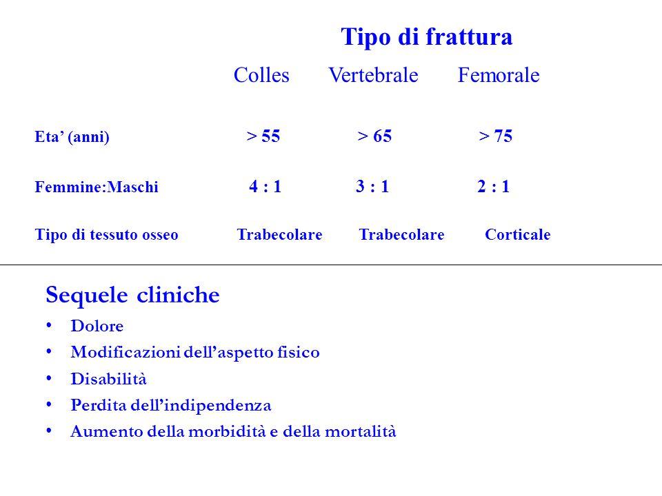 Tipo di frattura Colles Vertebrale Femorale Eta' (anni) > 55 > 65 > 75 Femmine:Maschi 4 : 1 3 : 1 2 : 1 Tipo di tessuto osseo Trabecolare Trabecolare