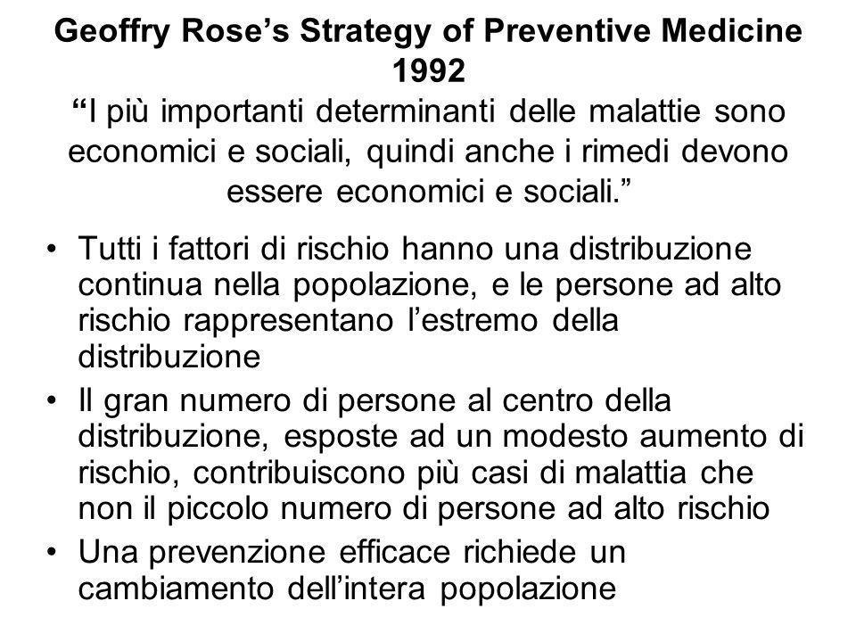 """Geoffry Rose's Strategy of Preventive Medicine 1992 """"I più importanti determinanti delle malattie sono economici e sociali, quindi anche i rimedi devo"""