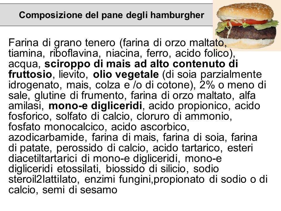 Composizione del pane degli hamburgher Farina di grano tenero (farina di orzo maltato, tiamina, riboflavina, niacina, ferro, acido folico), acqua, sci
