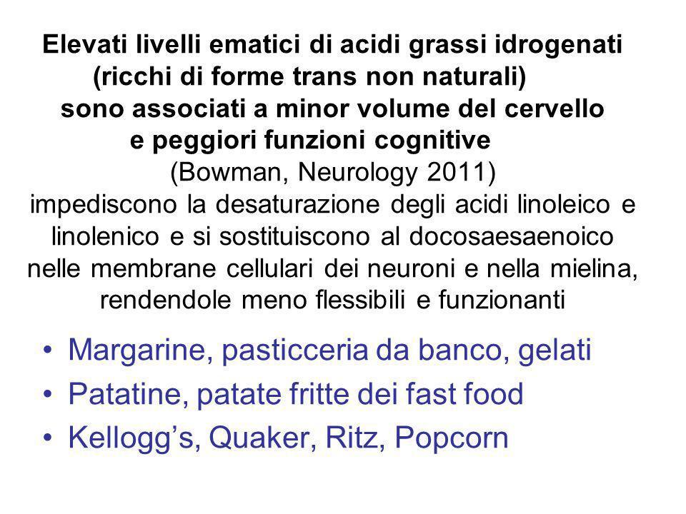 Elevati livelli ematici di acidi grassi idrogenati (ricchi di forme trans non naturali) sono associati a minor volume del cervello e peggiori funzioni