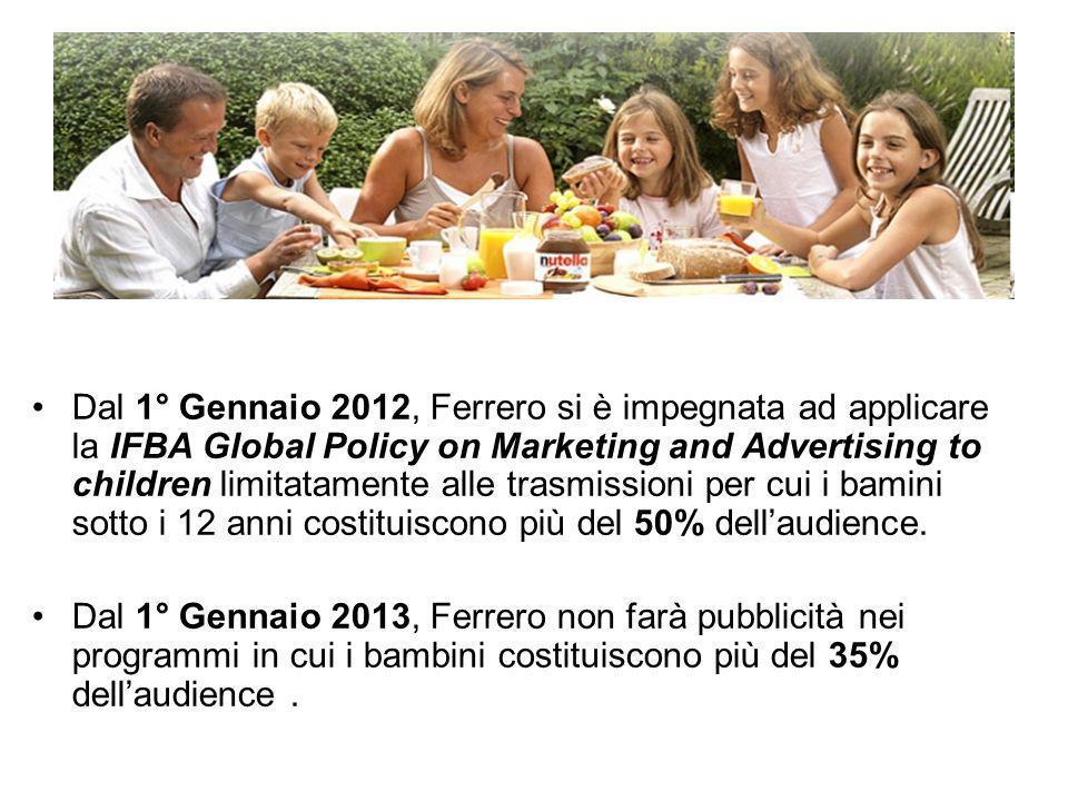 Dal 1° Gennaio 2012, Ferrero si è impegnata ad applicare la IFBA Global Policy on Marketing and Advertising to children limitatamente alle trasmission