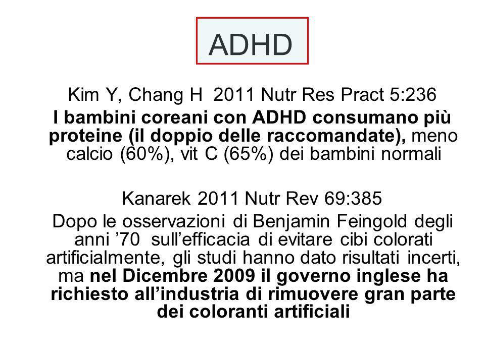 ADHD Kim Y, Chang H 2011 Nutr Res Pract 5:236 I bambini coreani con ADHD consumano più proteine (il doppio delle raccomandate), meno calcio (60%), vit