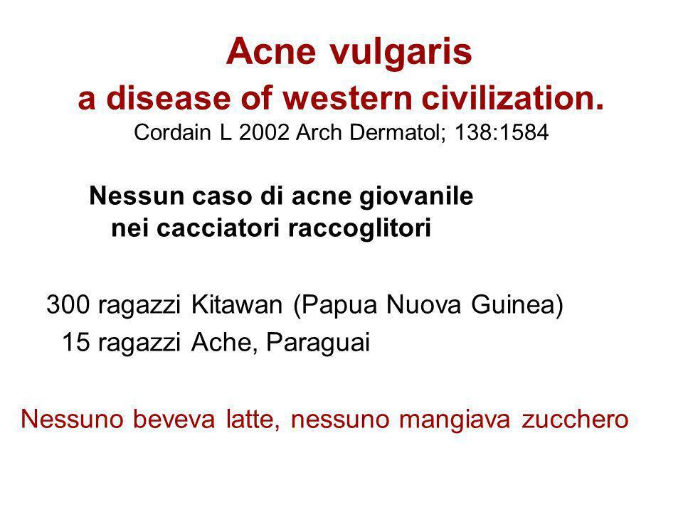 Acne vulgaris a disease of western civilization. Cordain L 2002 Arch Dermatol; 138:1584 Nessun caso di acne giovanile nei cacciatori raccoglitori 300