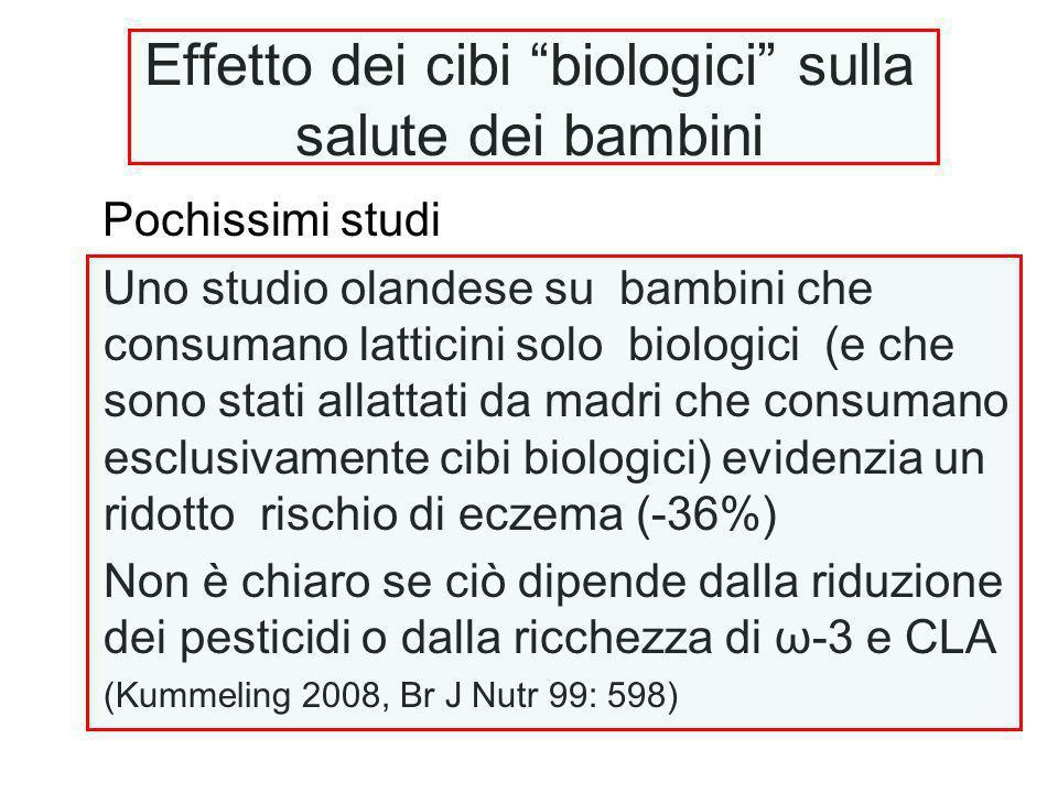 """Effetto dei cibi """"biologici"""" sulla salute dei bambini Pochissimi studi Uno studio olandese su bambini che consumano latticini solo biologici (e che so"""