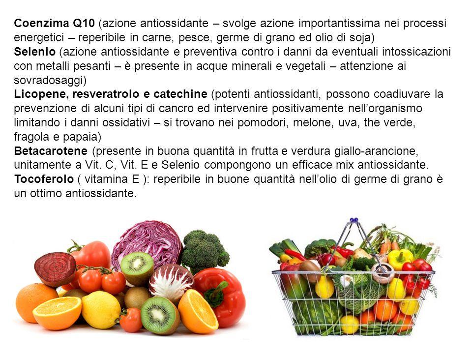 Coenzima Q10 (azione antiossidante – svolge azione importantissima nei processi energetici – reperibile in carne, pesce, germe di grano ed olio di soj