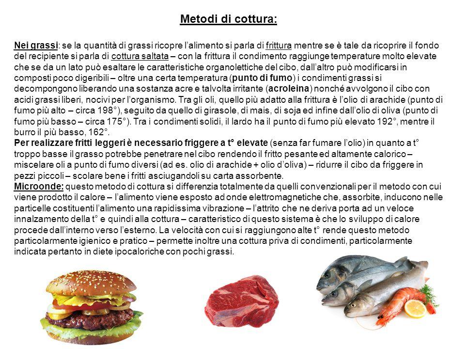 Metodi di cottura: Nei grassi: se la quantità di grassi ricopre l'alimento si parla di frittura mentre se è tale da ricoprire il fondo del recipiente
