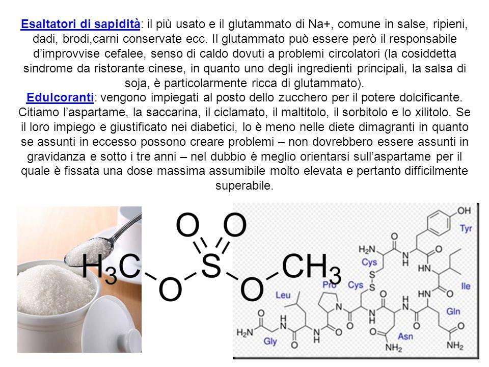 Esaltatori di sapidità: il più usato e il glutammato di Na+, comune in salse, ripieni, dadi, brodi,carni conservate ecc. Il glutammato può essere però
