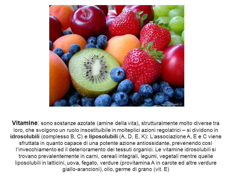 Vitamine: sono sostanze azotate (amine della vita), strutturalmente molto diverse tra loro, che svolgono un ruolo insostituibile in molteplici azioni