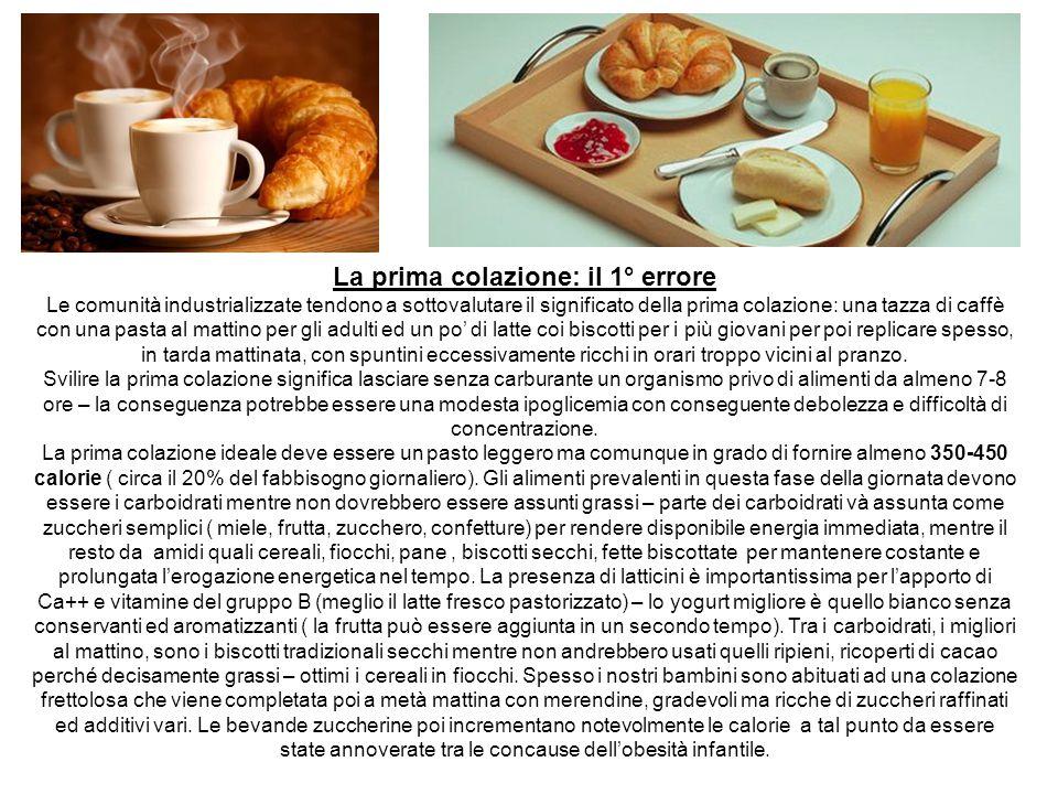 La prima colazione: il 1° errore Le comunità industrializzate tendono a sottovalutare il significato della prima colazione: una tazza di caffè con una