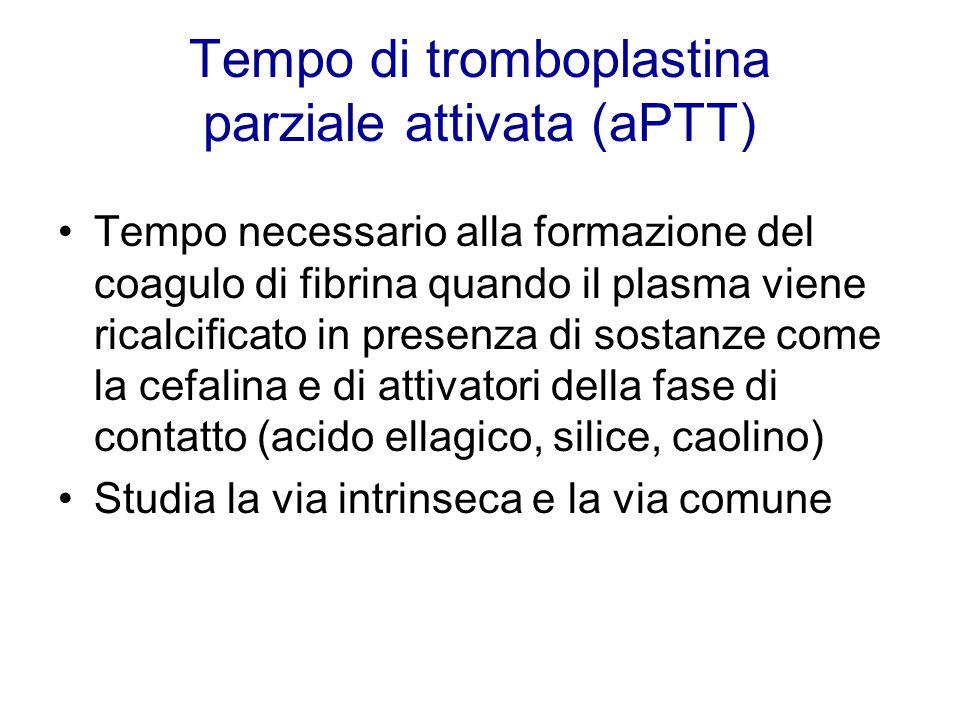 Tempo di tromboplastina parziale attivata (aPTT) Tempo necessario alla formazione del coagulo di fibrina quando il plasma viene ricalcificato in prese
