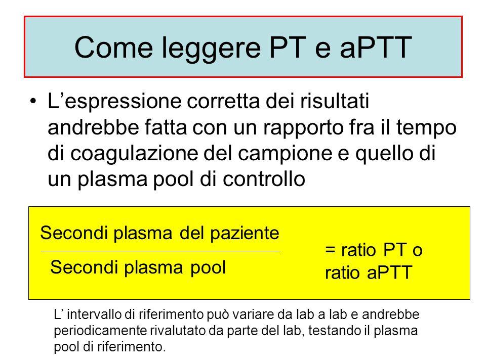 Come leggere PT e aPTT L'espressione corretta dei risultati andrebbe fatta con un rapporto fra il tempo di coagulazione del campione e quello di un pl