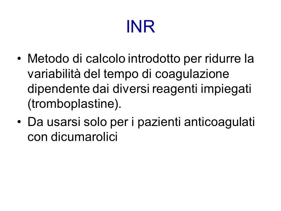 Metodo di calcolo introdotto per ridurre la variabilità del tempo di coagulazione dipendente dai diversi reagenti impiegati (tromboplastine). Da usars
