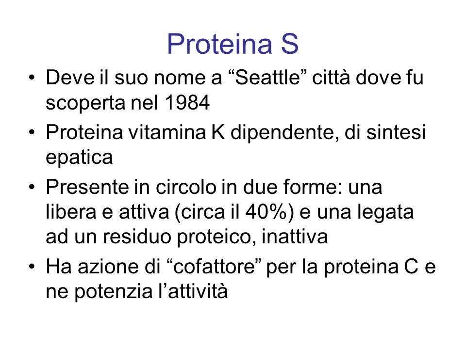 """Proteina S Deve il suo nome a """"Seattle"""" città dove fu scoperta nel 1984 Proteina vitamina K dipendente, di sintesi epatica Presente in circolo in due"""