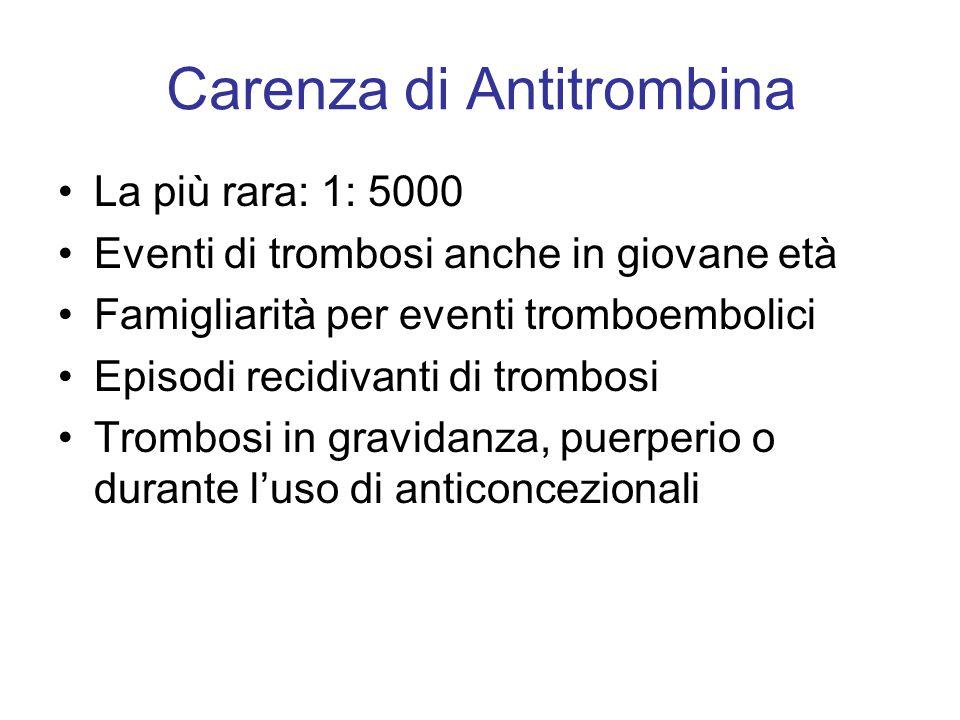 Carenza di Antitrombina La più rara: 1: 5000 Eventi di trombosi anche in giovane età Famigliarità per eventi tromboembolici Episodi recidivanti di tro