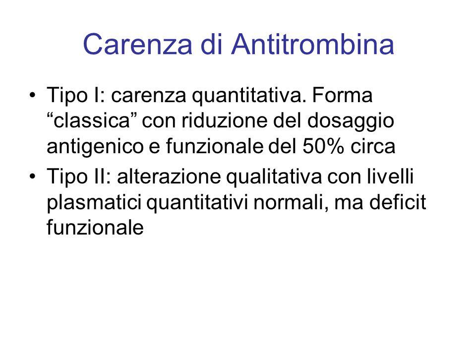 """Carenza di Antitrombina Tipo I: carenza quantitativa. Forma """"classica"""" con riduzione del dosaggio antigenico e funzionale del 50% circa Tipo II: alter"""