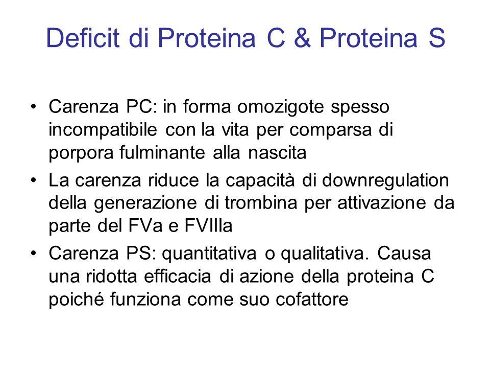 Deficit di Proteina C & Proteina S Carenza PC: in forma omozigote spesso incompatibile con la vita per comparsa di porpora fulminante alla nascita La