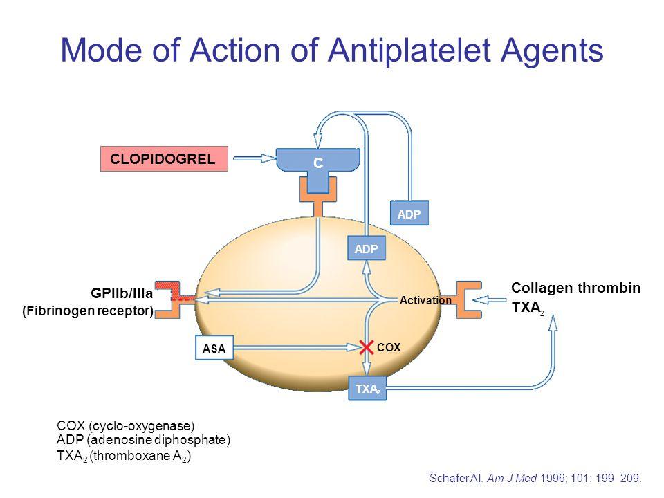 COX (cyclo-oxygenase) ADP (adenosine diphosphate) TXA 2 (thromboxane A 2 ) CLOPIDOGREL ASA COX ADP C GPllb/llla (Fibrinogen receptor) Collagen thrombi