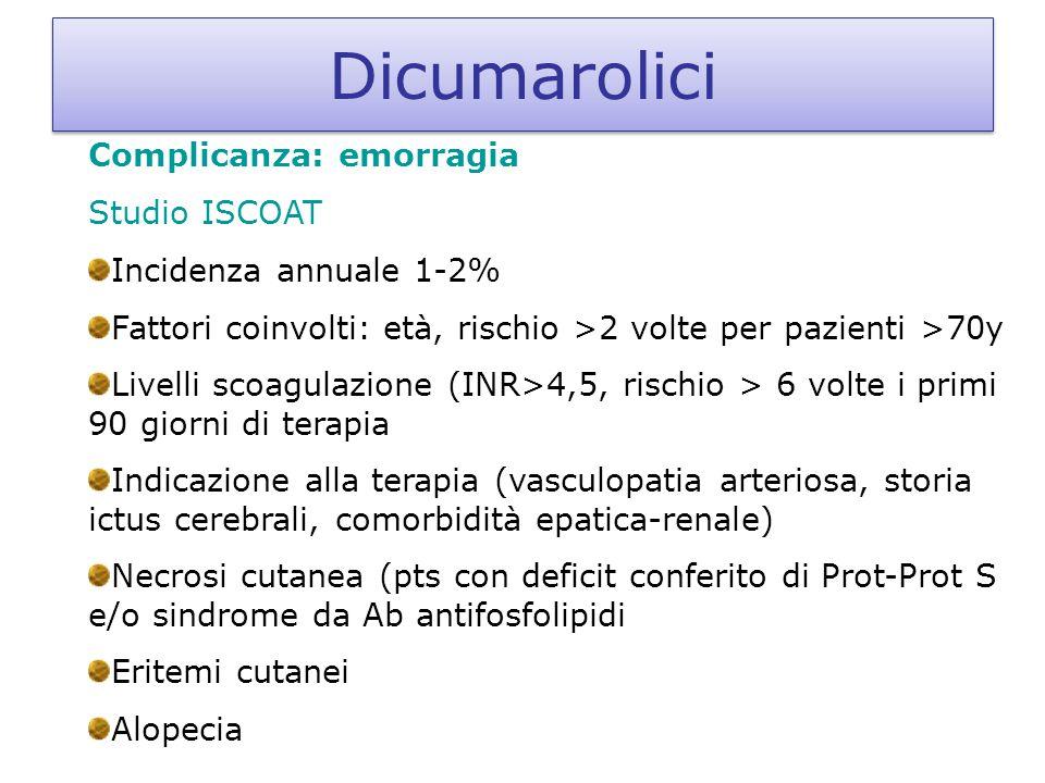 Dicumarolici Complicanza: emorragia Studio ISCOAT Incidenza annuale 1-2% Fattori coinvolti: età, rischio >2 volte per pazienti >70y Livelli scoagulazi